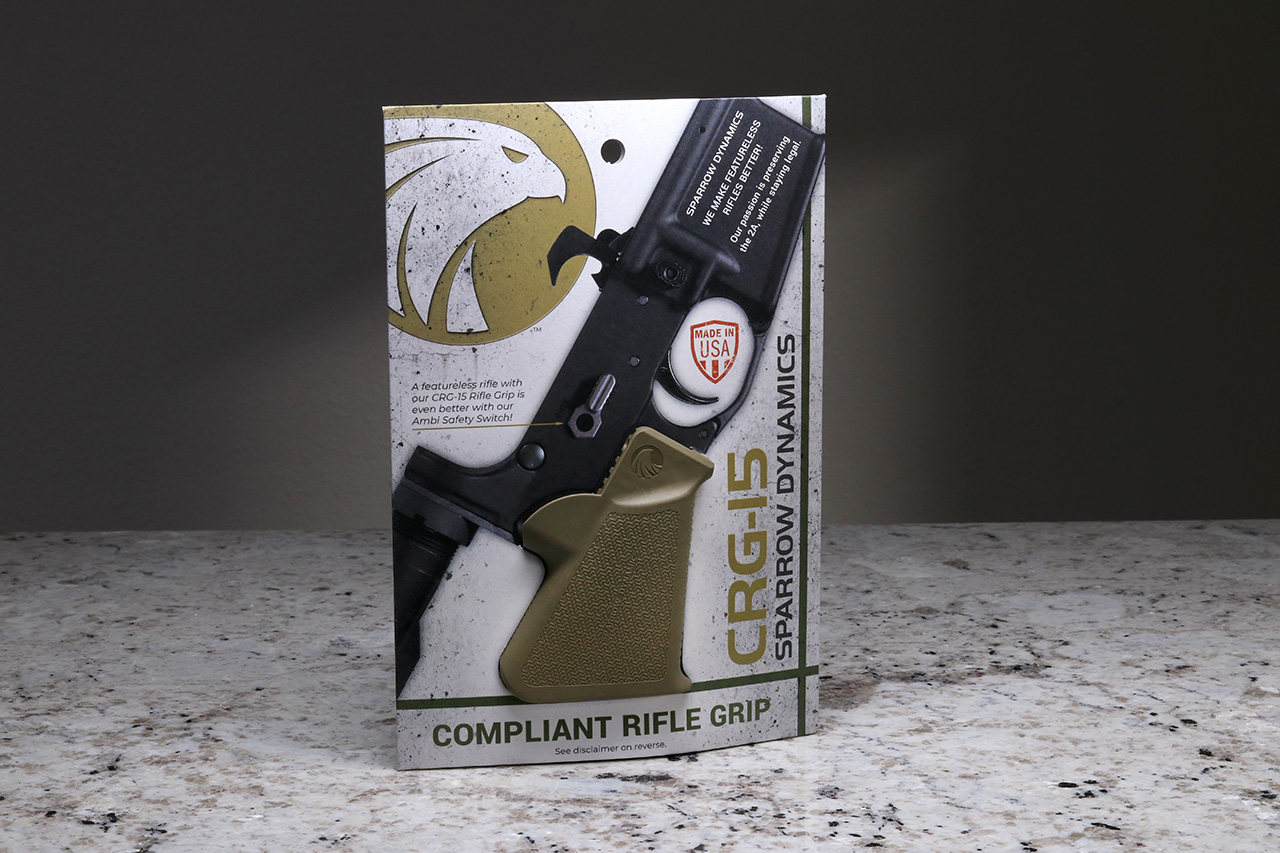 Sparrow CRG-15 FDE Compliant Grip in retail packaging