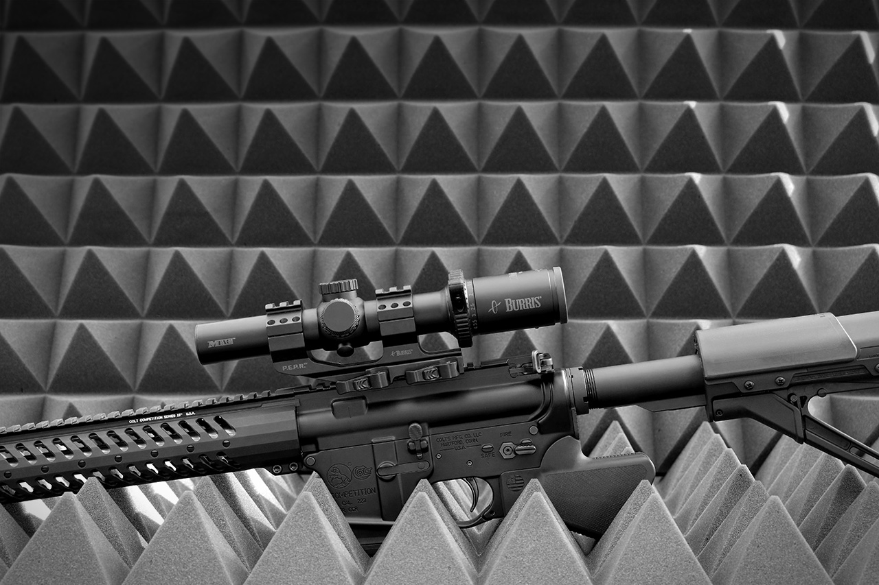 Sparrow Dynamics California Featureless AR-15 Rifle on sound foam black and white